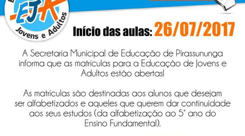 Secretaria da Educação aceita matrículas para EJA