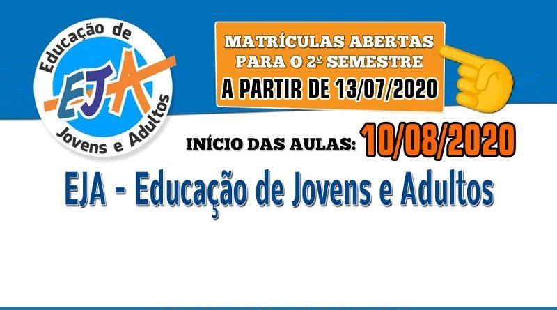Secretaria de Educação informa abertura de matrículas para 2º Semestre da EJA