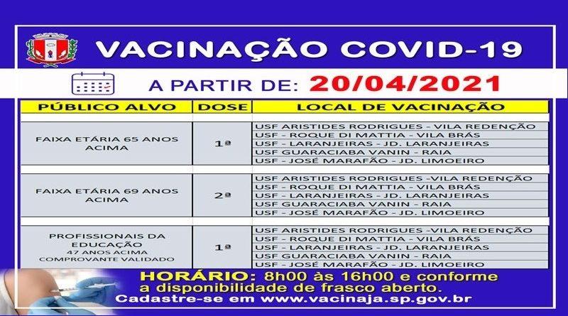 Vacina Covid-19: disponível 1ª dose para pessoas de 65 anos e acima e 2ª dose para quem tem 69 anos e acima